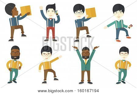 Successful businessman getting good news on mobile phone. Happy successful businessman talking on mobile phone. Businessman using mobile phone. Set of vector illustrations isolated on white background