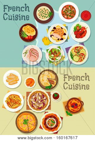 French cuisine meat and dessert dishes icon set of ratatouille stew, onion, ham pie, lamb and beef roast, meat stew, baked pork and potato, fruit cake, pancake, stuffed cabbage, berry dessert, cookie