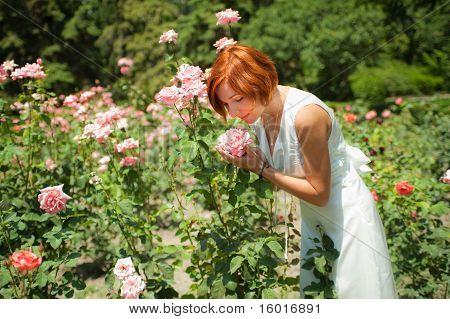 Woman In Roses Garden