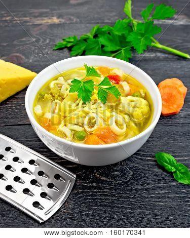 Soup Minestrone In Bowl On Black Board