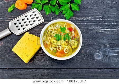Soup Minestrone In Bowl On Black Board Top