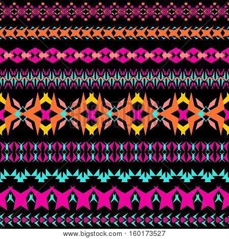 Vector set of decorative patterns for design and fashion in ethnic tribal style. Borders collection. Aztec ornaments