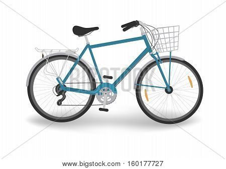 isolated blue bicycle with basket and trunk, vector