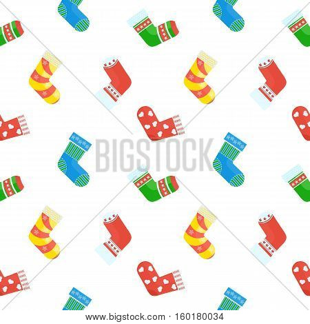 Christmas socks seamless pattern. Concept of New Year gifts. Template for greeting cards postcards advertising media. Flat cartoon Christmas socks. Objects isolated on a white background.