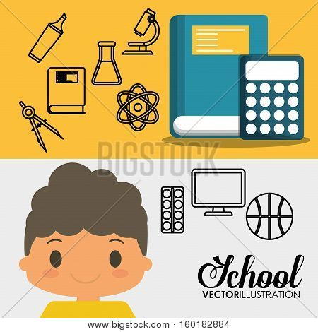 cartoon pupil boy book calculator ball sport school banner vector illustration eps 10