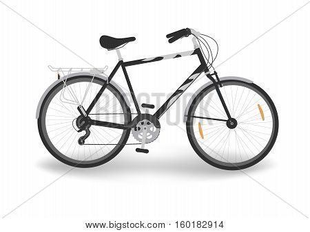 isolated black bicycle with trunk, vector illustration