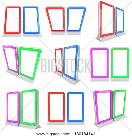 LCD Screen Stand Set. Blank Trade Show Booth. 3d render of lcd tv isolated on white background. High Resolution. Ad template for your expo design.