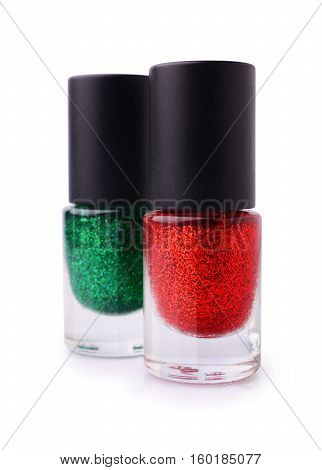 Red And Green Nail Polish With Glitter