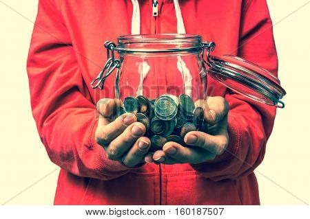 Woman Holding Money Jar With Coins - Retro Style