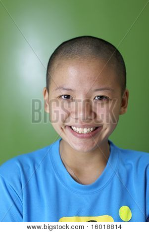 Happy lady with just shaved head