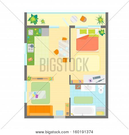 Apartment Floor Plan with Furniture Top View. Engineering Modern Layout Flat Design Style. Vector illustration