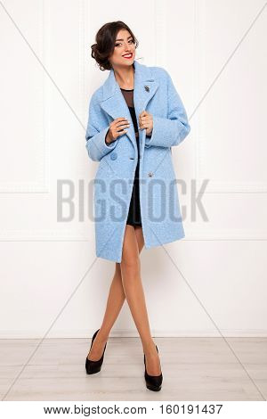 Young Beautiful Girl In A Coat, Background