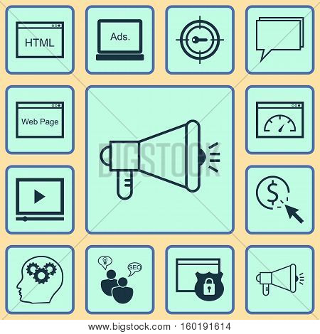 Set Of 12 Advertising Icons. Can Be Used For Web, Mobile, UI And Infographic Design. Includes Elements Such As Marketing, Target, Security And More.