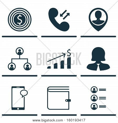 Set Of 9 Hr Icons. Can Be Used For Web, Mobile, UI And Infographic Design. Includes Elements Such As Increase, Dollar, Pin And More.