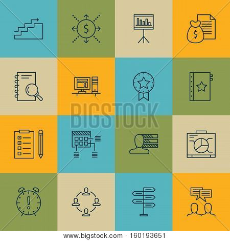 Set Of 16 Project Management Icons. Can Be Used For Web, Mobile, UI And Infographic Design. Includes Elements Such As Team, Plan, Task And More.