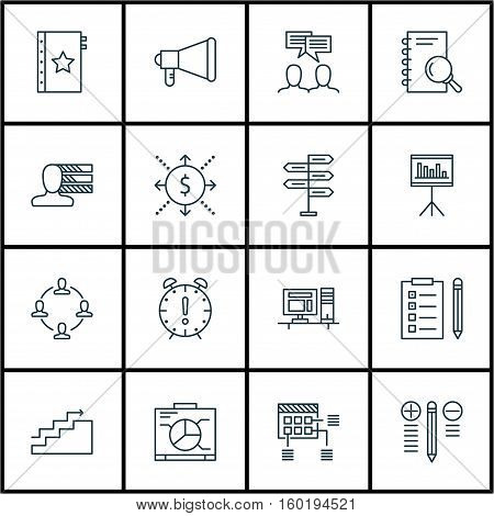 Set Of 16 Project Management Icons. Can Be Used For Web, Mobile, UI And Infographic Design. Includes Elements Such As Flow, Dashboard, Chart And More.