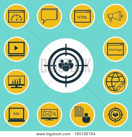 Set Of 12 Marketing Icons. Can Be Used For Web, Mobile, UI And Infographic Design. Includes Elements Such As Speed, Matching, Target And More.