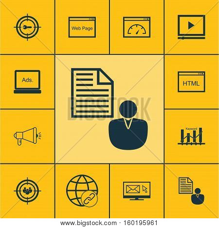 Set Of 12 SEO Icons. Can Be Used For Web, Mobile, UI And Infographic Design. Includes Elements Such As Page, Performance, Businessman And More.