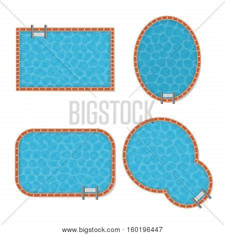 Pool Set Top View with Transparent Blue Water Different Form of Leisure. Vector illustration