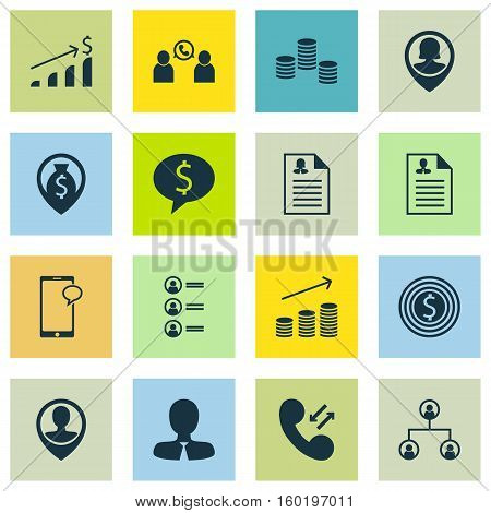 Set Of 16 Human Resources Icons. Can Be Used For Web, Mobile, UI And Infographic Design. Includes Elements Such As Career, Organisation, Money And More.