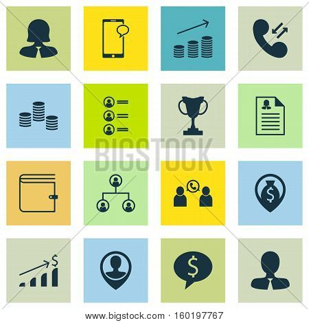 Set Of 16 Hr Icons. Can Be Used For Web, Mobile, UI And Infographic Design. Includes Elements Such As Purse, Pin, Job And More.
