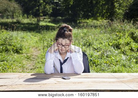 Unhappy Business Woman From The Place Where It Delegated