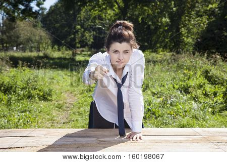Business Woman Threatens Fist