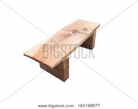 Low wooden chair on a white background.