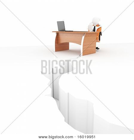 3D Man At Desk With Earthquake Crack