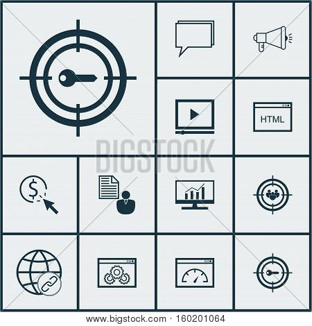 Set Of 12 SEO Icons. Can Be Used For Web, Mobile, UI And Infographic Design. Includes Elements Such As HTML, Analytics, Businessman And More.
