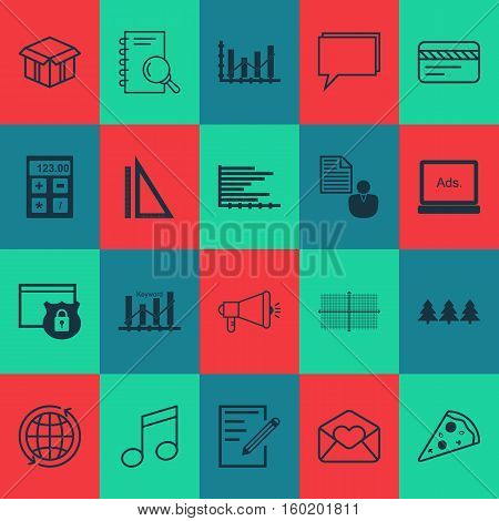 Set Of 20 Universal Editable Icons. Can Be Used For Web, Mobile And App Design. Includes Elements Such As Raise Diagram, Financial, Media Campaign And More.
