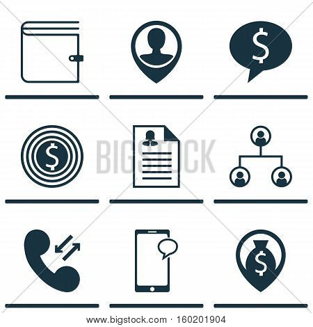 Set Of 9 Hr Icons. Can Be Used For Web, Mobile, UI And Infographic Design. Includes Elements Such As Discussion, Tree, Resume And More.