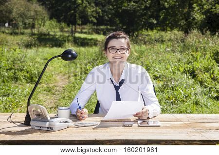 Happy Business Woman Is Ready To Sign A Contract