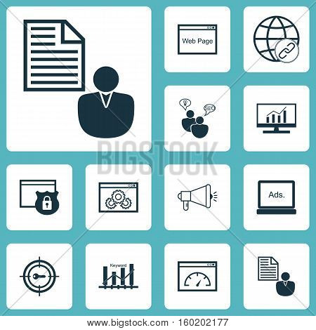 Set Of 12 Marketing Icons. Can Be Used For Web, Mobile, UI And Infographic Design. Includes Elements Such As Protected, Businessman, Community And More.
