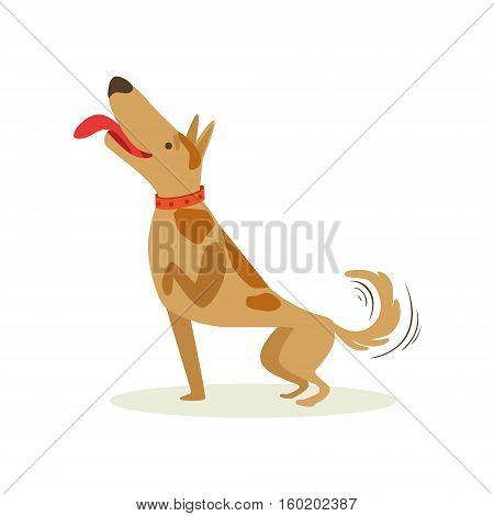 Well Trained Brown Pet Dog Striking A Pose, Animal Emotion Cartoon Illustration. Cute Realistic Active Hound Vector Character Everyday Life Scene Emoji.