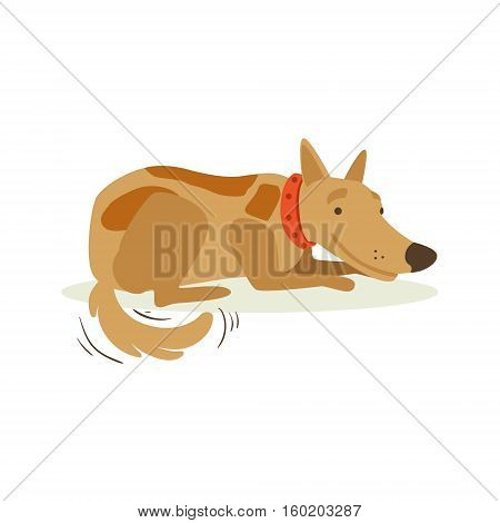 Smiling Brown Pet Dog Laying, Animal Emotion Cartoon Illustration. Cute Realistic Active Hound Vector Character Everyday Life Scene Emoji.