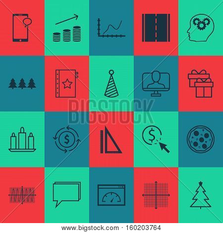 Set Of 20 Universal Editable Icons. Can Be Used For Web, Mobile And App Design. Includes Elements Such As Holiday Ornament, Conference, Money Recycle And More.