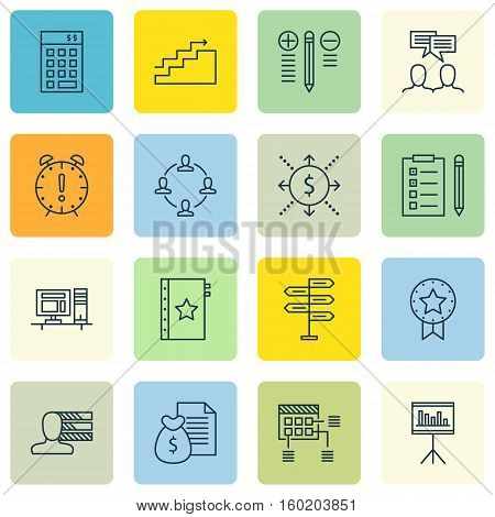 Set Of 16 Project Management Icons. Can Be Used For Web, Mobile, UI And Infographic Design. Includes Elements Such As Solution, List, Deadline And More.