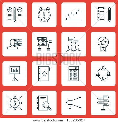 Set Of 16 Project Management Icons. Can Be Used For Web, Mobile, UI And Infographic Design. Includes Elements Such As Teamwork, Research, Fork And More.