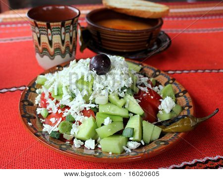 Traditional Bulgarian salad