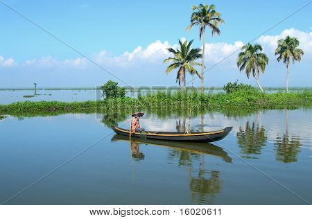 Riverboat cruise on the backwaters of Kerala, India
