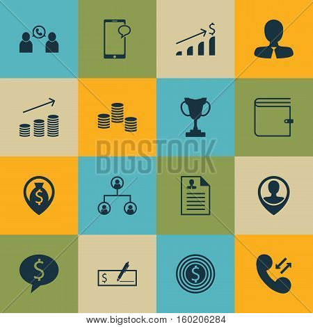 Set Of 16 Management Icons. Can Be Used For Web, Mobile, UI And Infographic Design. Includes Elements Such As Dollar, Chat, Conference And More.