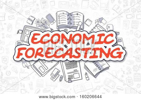 Economic Forecasting - Sketch Business Illustration. Red Hand Drawn Word Economic Forecasting Surrounded by Stationery. Cartoon Design Elements.