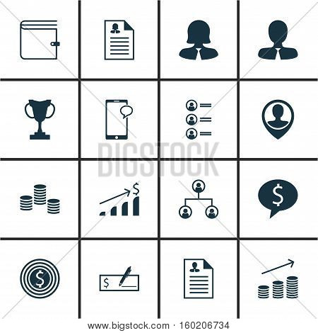 Set Of 16 Human Resources Icons. Can Be Used For Web, Mobile, UI And Infographic Design. Includes Elements Such As Job, Tree, Discussion And More.
