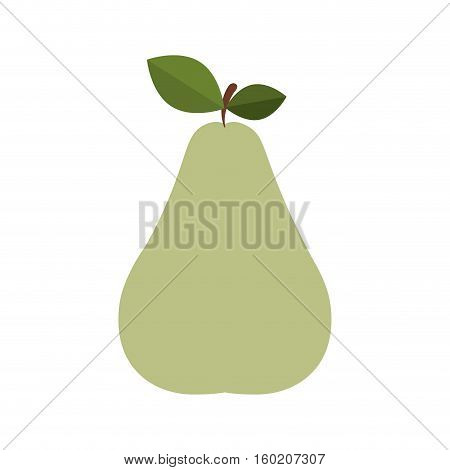 silhouette colorful pear with stem and leafs vector illustration