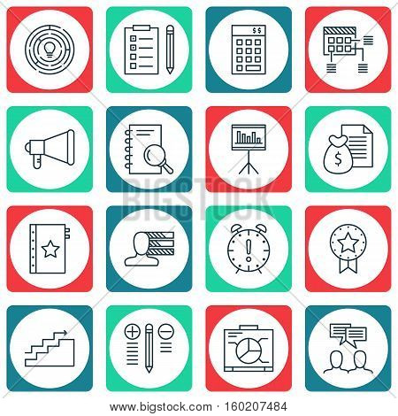 Set Of 16 Project Management Icons. Can Be Used For Web, Mobile, UI And Infographic Design. Includes Elements Such As Personality, Schedule, Deadline And More.