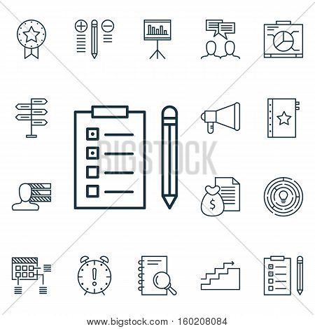 Set Of 16 Project Management Icons. Can Be Used For Web, Mobile, UI And Infographic Design. Includes Elements Such As Research, Fork, Award And More.