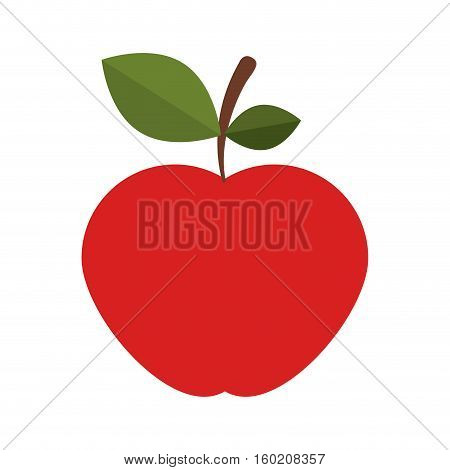 silhouette colorful of apple with stem and leafs vector illustration