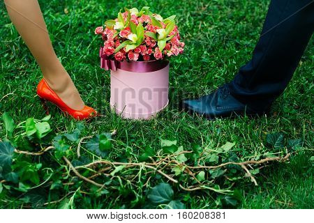 Beautiful flowers blossoming roses in gift box with pink ribbon bow with female and male legs outdoors on green grass on natural background