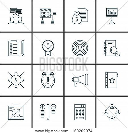Set Of 16 Project Management Icons. Can Be Used For Web, Mobile, UI And Infographic Design. Includes Elements Such As Brainstorming, Quality, Meeting And More.